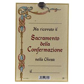 Impreso sobre madera Espíritu Santo Diploma Recuerdo de la Confirmación ITA s2