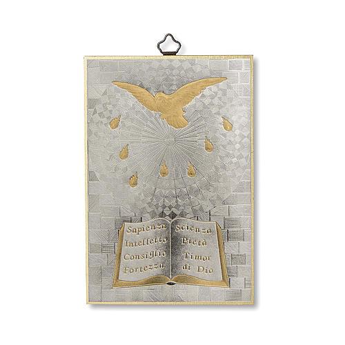 Impreso sobre madera Espíritu Santo Diploma Recuerdo de la Confirmación ITA 1