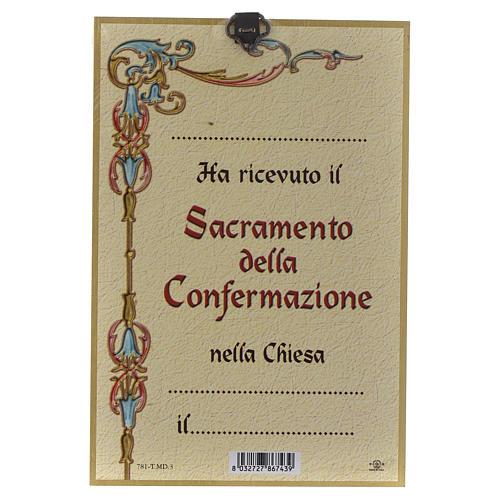 Impreso sobre madera Espíritu Santo Diploma Recuerdo de la Confirmación ITA 2