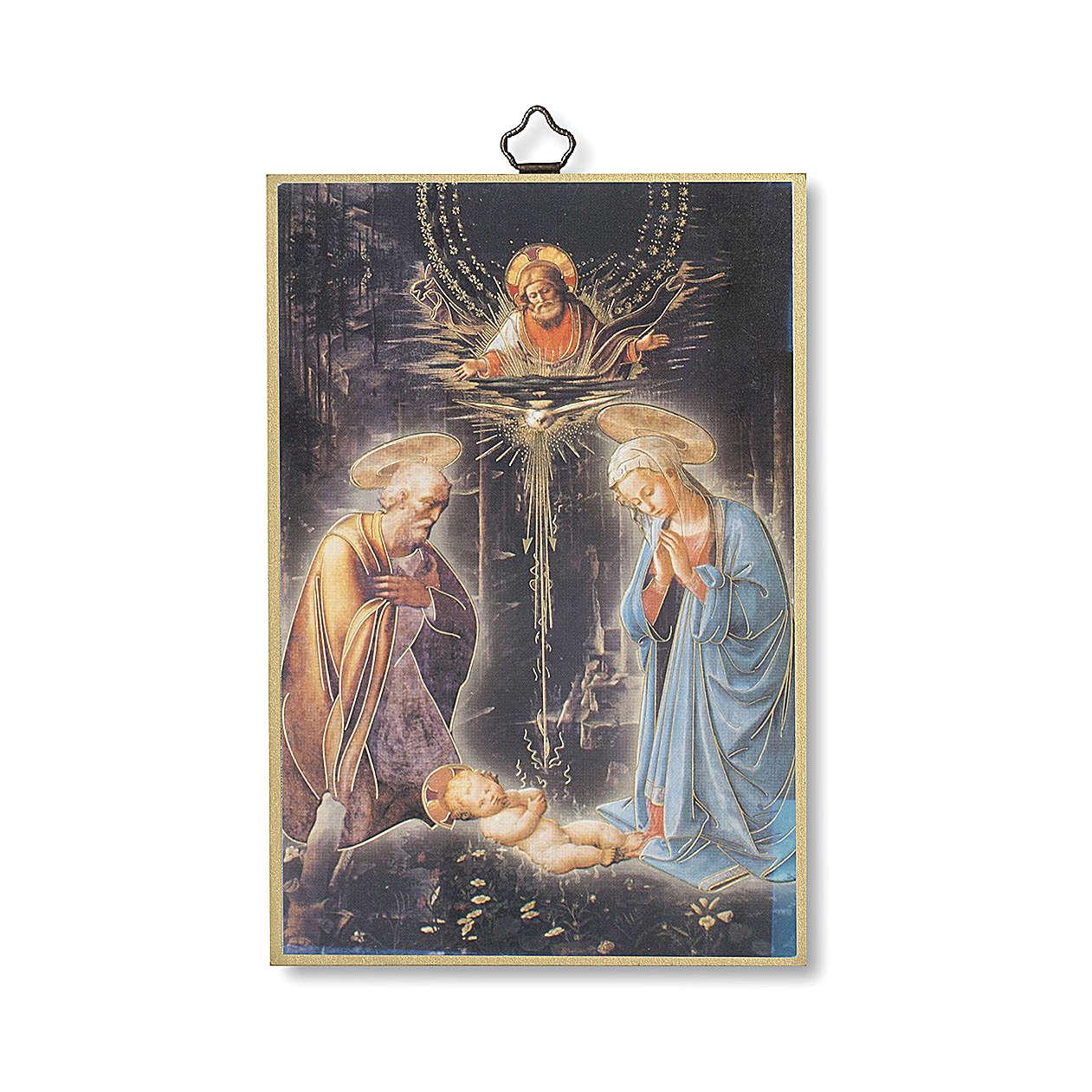 Estmapa sobre madera Natividad con oración Tu Scendi dalle Stelle ita 3