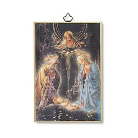 Estmapa sobre madera Natividad con oración Tu Scendi dalle Stelle ita s1