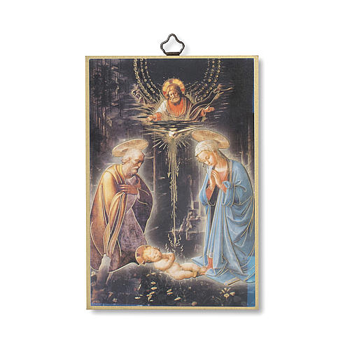 Estmapa sobre madera Natividad con oración Tu Scendi dalle Stelle ita 1