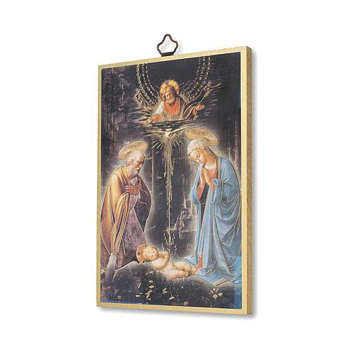 Estmapa sobre madera Natividad con oración Tu Scendi dalle Stelle ita 2