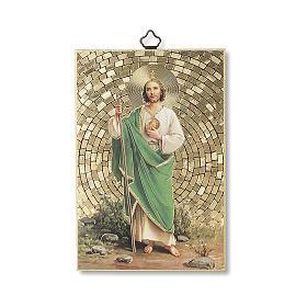 Impreso sobre madera San Judas Oración para obtener cada gracia ITA s1