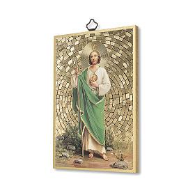Impreso sobre madera San Judas Oración para obtener cada gracia ITA s2