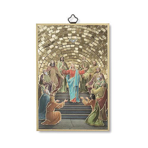 Pentecost woodcut with memory of communion diploma ITALIAN 1