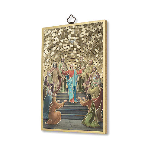 Pentecost woodcut with memory of communion diploma ITALIAN 2