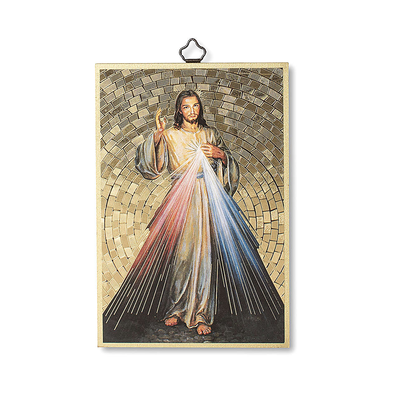 Impreso sobre madera Jesús Misericordioso Corona a la Divina Misericordia ITA 3