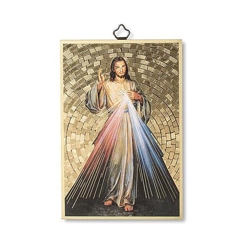 Impreso sobre madera Jesús Misericordioso Corona a la Divina Misericordia ITA 1