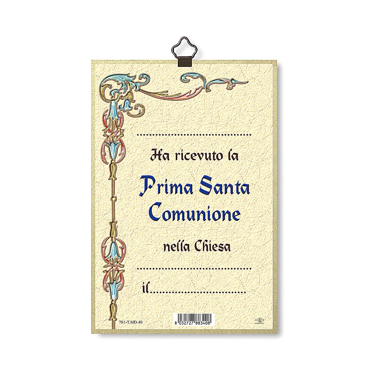 Impreso sobre madera Recuerdo de la primera Comunión Diploma Recuerdo ITA 3