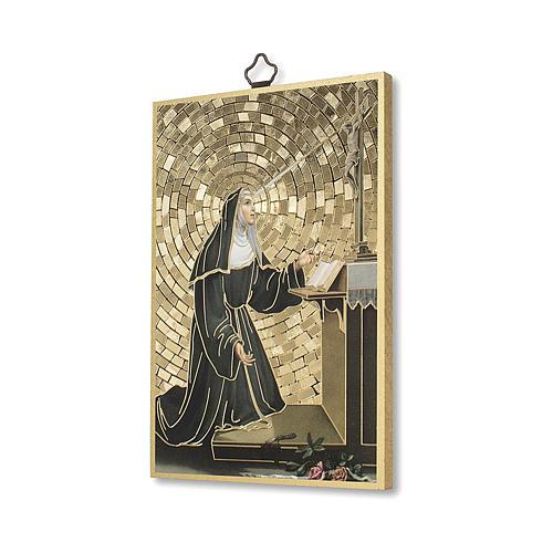 Impreso sobre madera Santa Rita de Casia Oración ITA