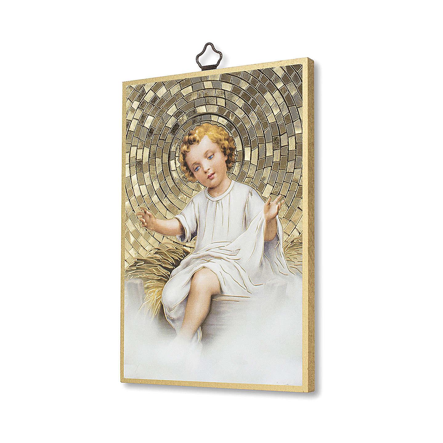 Estampa sobre madera Niño Jesús en cuna oración Tu Scendi dalle Stelle italiano 3