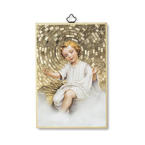 Estampa sobre madera Niño Jesús en cuna oración Tu Scendi dalle Stelle italiano 1