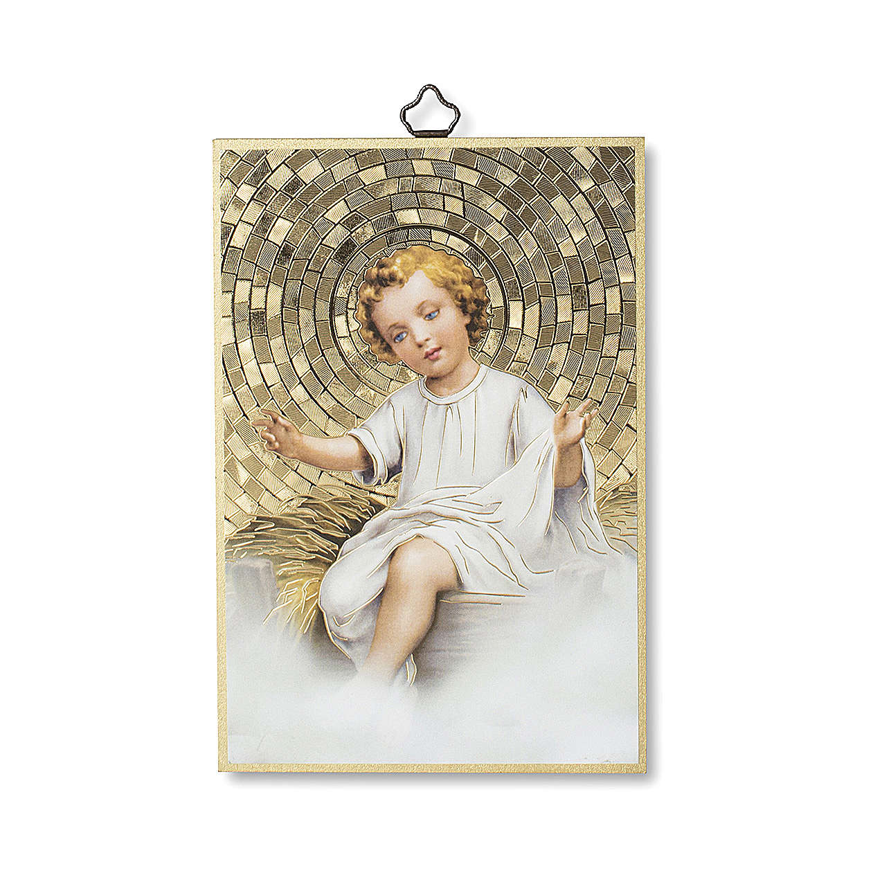 Stampa su legno Gesù Bambino nella Mangiatoia Tu Scendi dalle Stelle ITA 3