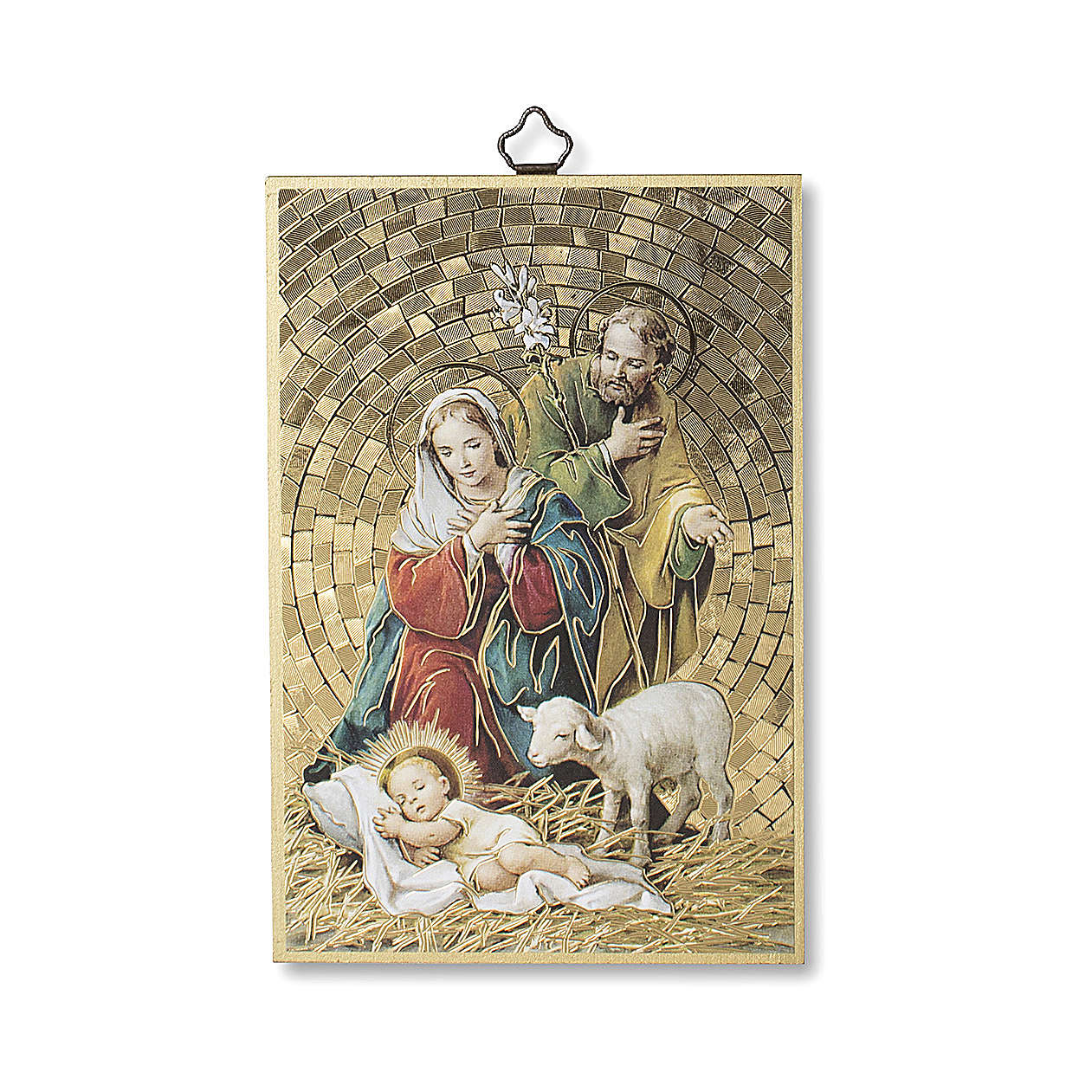 Estampa sobre madera Natividad Tu scendi dalle Stelle italiano 3