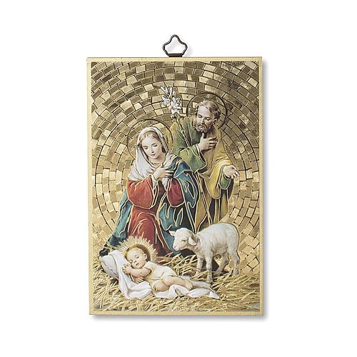 Estampa sobre madera Natividad Tu scendi dalle Stelle italiano 1