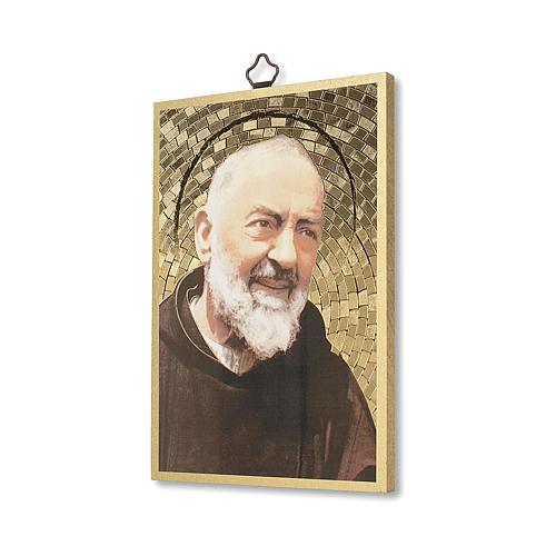Impreso sobre madera Padre Pío Oración a Padre Pío ITA 2