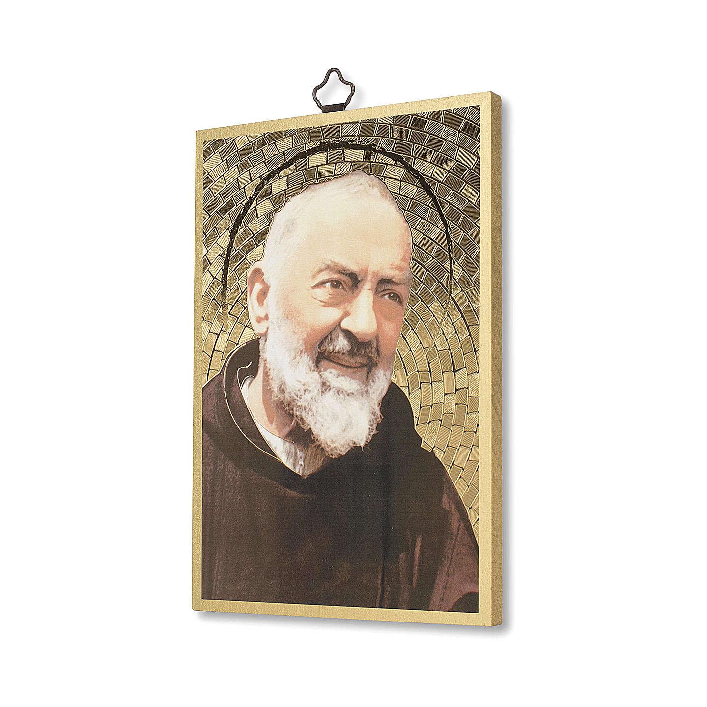 Impression sur bois Padre Pio Prière à Padre Pio ITA 3