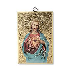 Cuadros, estampas y manuscritos iluminados: Impreso sobre madera Sagrado Corazón de Jesús Al Sagrado Corazón de Jesús ITA