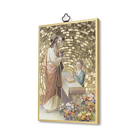 Jesus and little boy woodcut with prayer of Thanksgiving, communion diploma ITALIAN s2