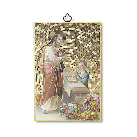 Jesus and little boy woodcut with prayer of Thanksgiving, communion diploma ITALIAN s1