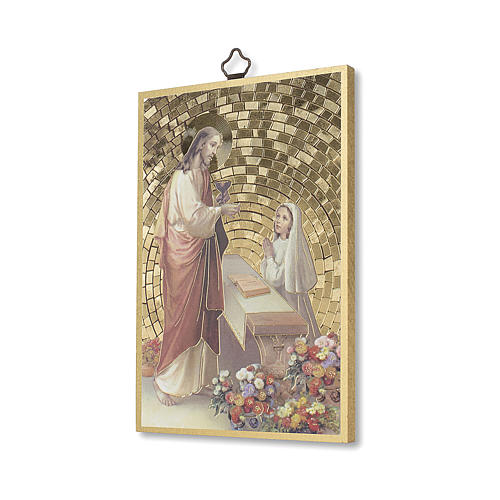 Jesus and little girl woodcut with prayer of Thanksgiving, communion diploma ITALIAN 2