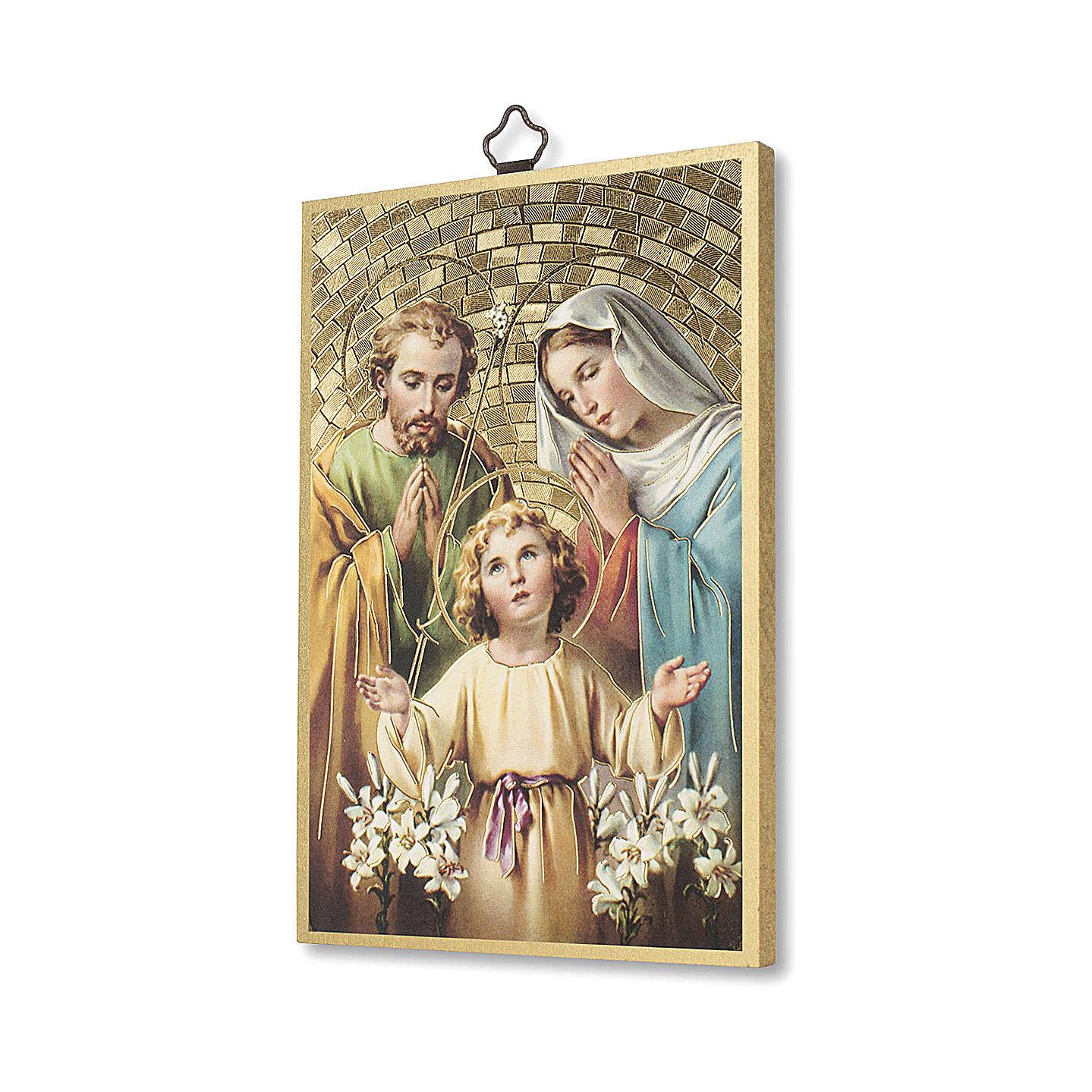 Impreso sobre madera Sagrada Familia Oración para la Familia ITA 3