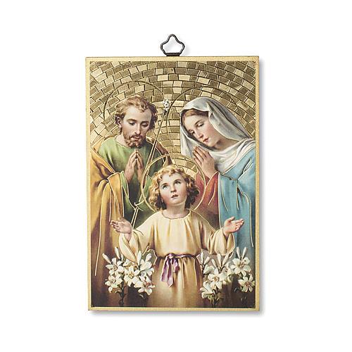 Impreso sobre madera Sagrada Familia Oración para la Familia ITA 1