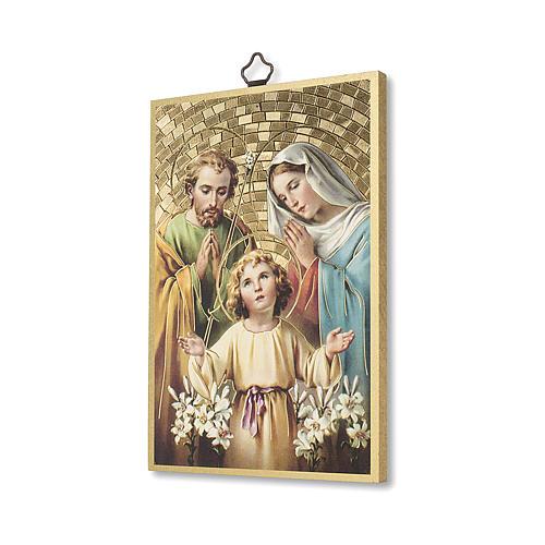 Impreso sobre madera Sagrada Familia Oración para la Familia ITA 2