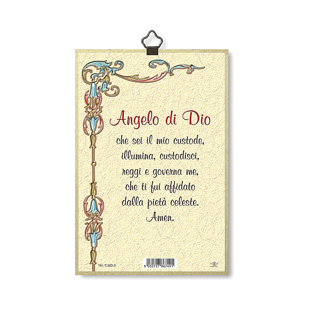 Impreso sobre madera Ángel de la Guarda con Linterna Ángel de Dios ITA 3