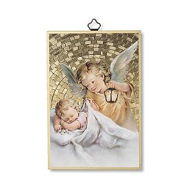 Stampa su legno Angelo Custode con Lanterna Angelo di Dio ITA s1