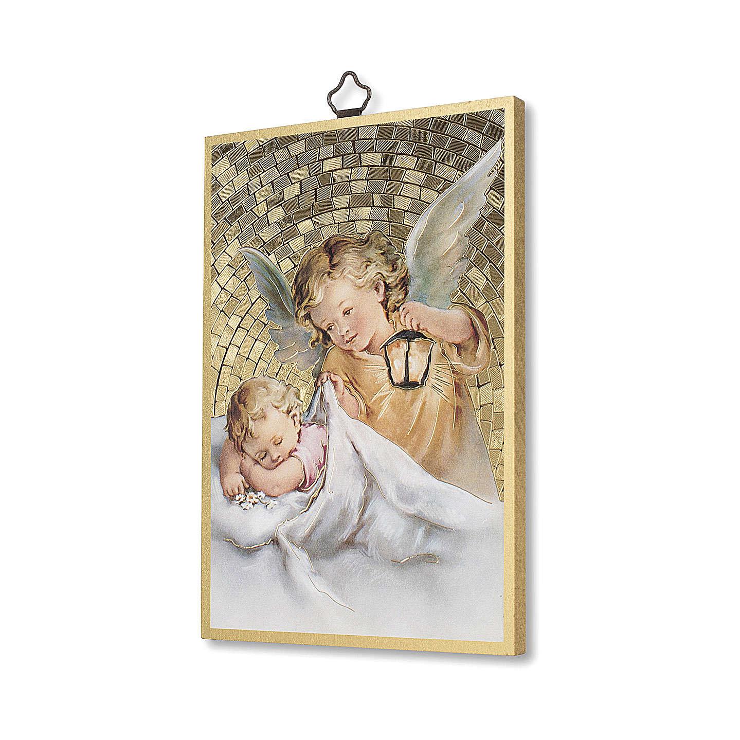 Nadruk na drewnie Anioł Stróż z latarenką Aniele Boży IT 3