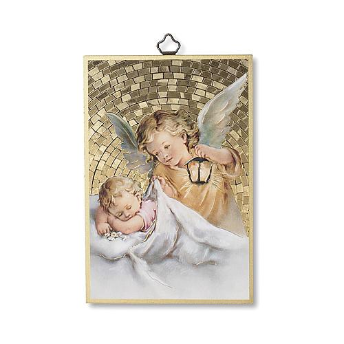 Nadruk na drewnie Anioł Stróż z latarenką Aniele Boży IT 1