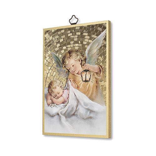 Nadruk na drewnie Anioł Stróż z latarenką Aniele Boży IT 2