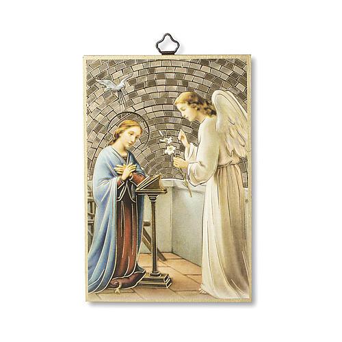 Saint Archangel Gabriel woodcut with prayer in ITALIAN 1