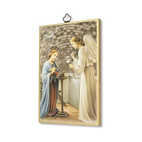 Impreso sobre madera San Gabriel Arcángel Oración ITA 2