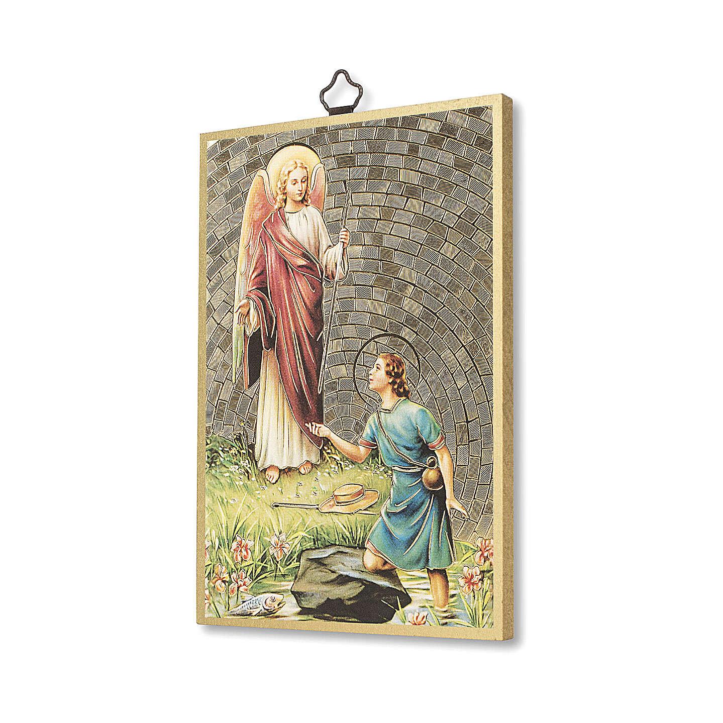 Impreso sobre madera San Rafael Arcángel Oración ITA 3