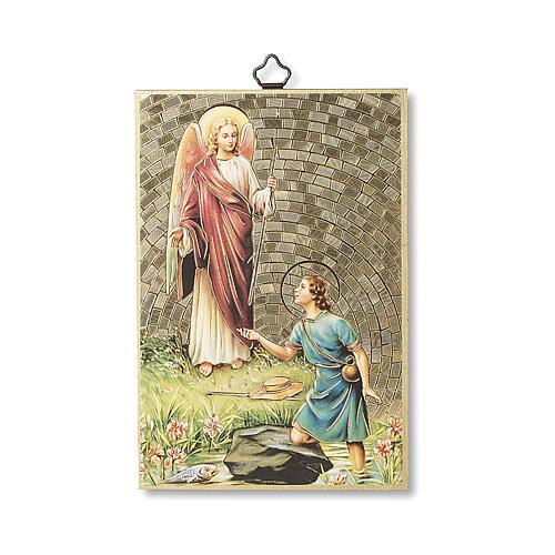 Impreso sobre madera San Rafael Arcángel Oración ITA 1