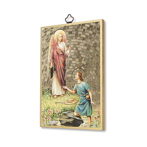Impreso sobre madera San Rafael Arcángel Oración ITA 2