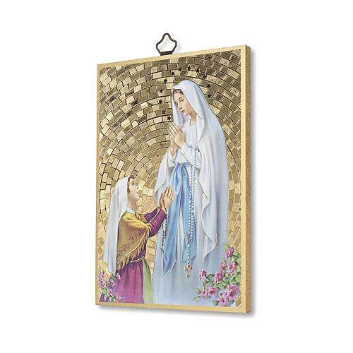 Stampa su legno Apparizione di Lourdes con Bernadette 2