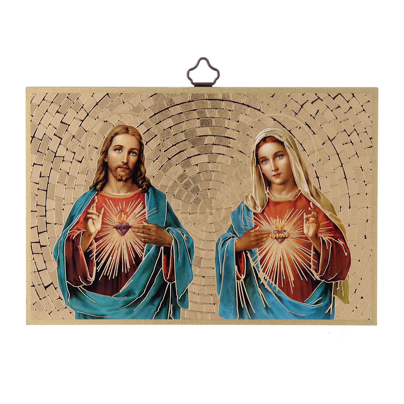Impreso sobre madera Sagrado Corazón de Jesús y de María 3