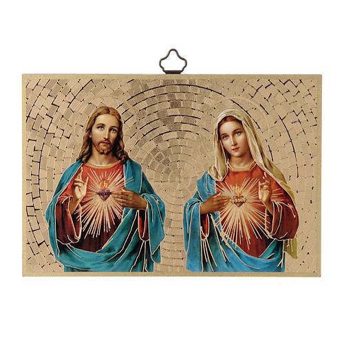Impreso sobre madera Sagrado Corazón de Jesús y de María 1