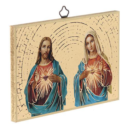 Impreso sobre madera Sagrado Corazón de Jesús y de María 2