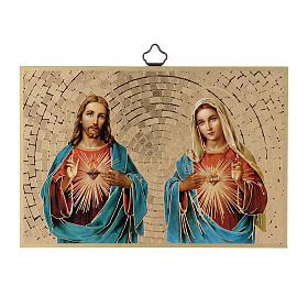 Tableaux, gravures, manuscrit enluminé: Impression sur bois Sacré Coeur de Jésus et de Marie