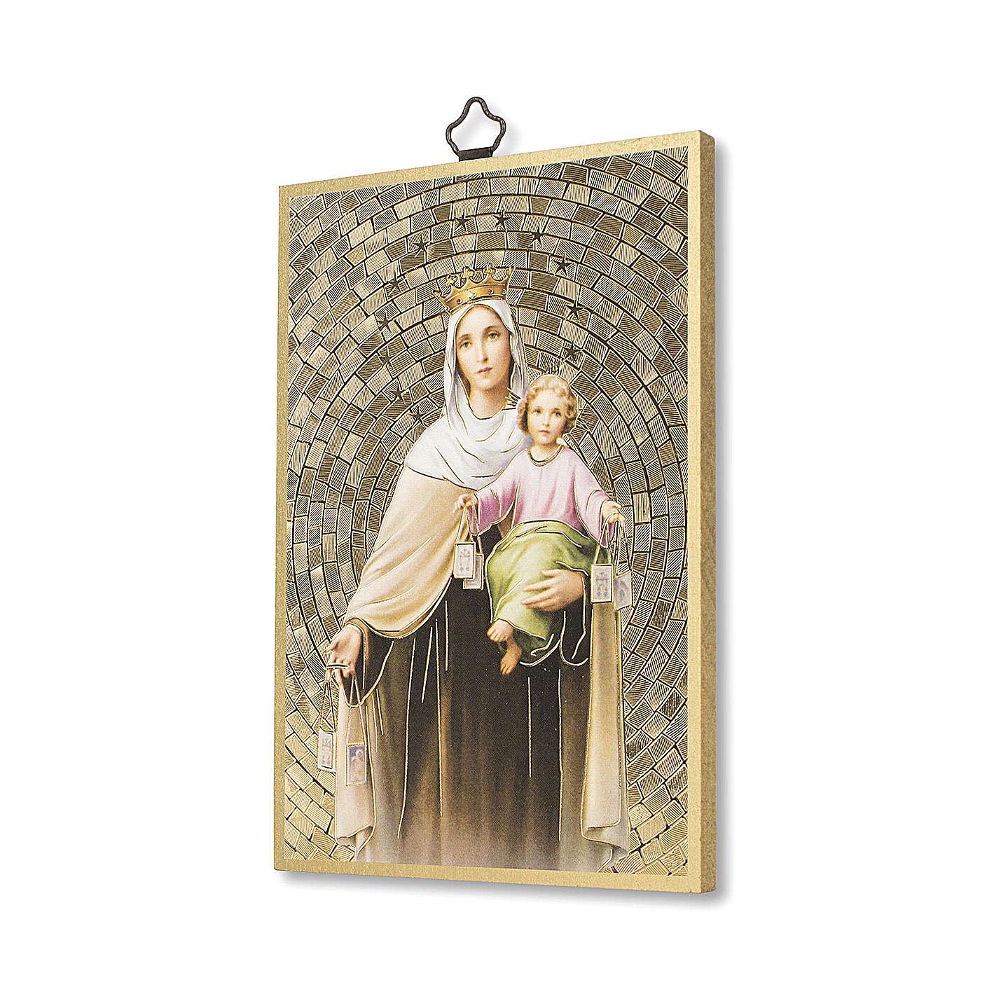 Stampa su legno Madonna del Carmelo 3