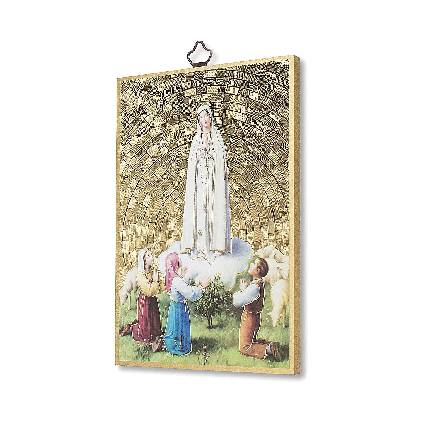 Icono sobre madera Apararición de Fátima con Pastores 3