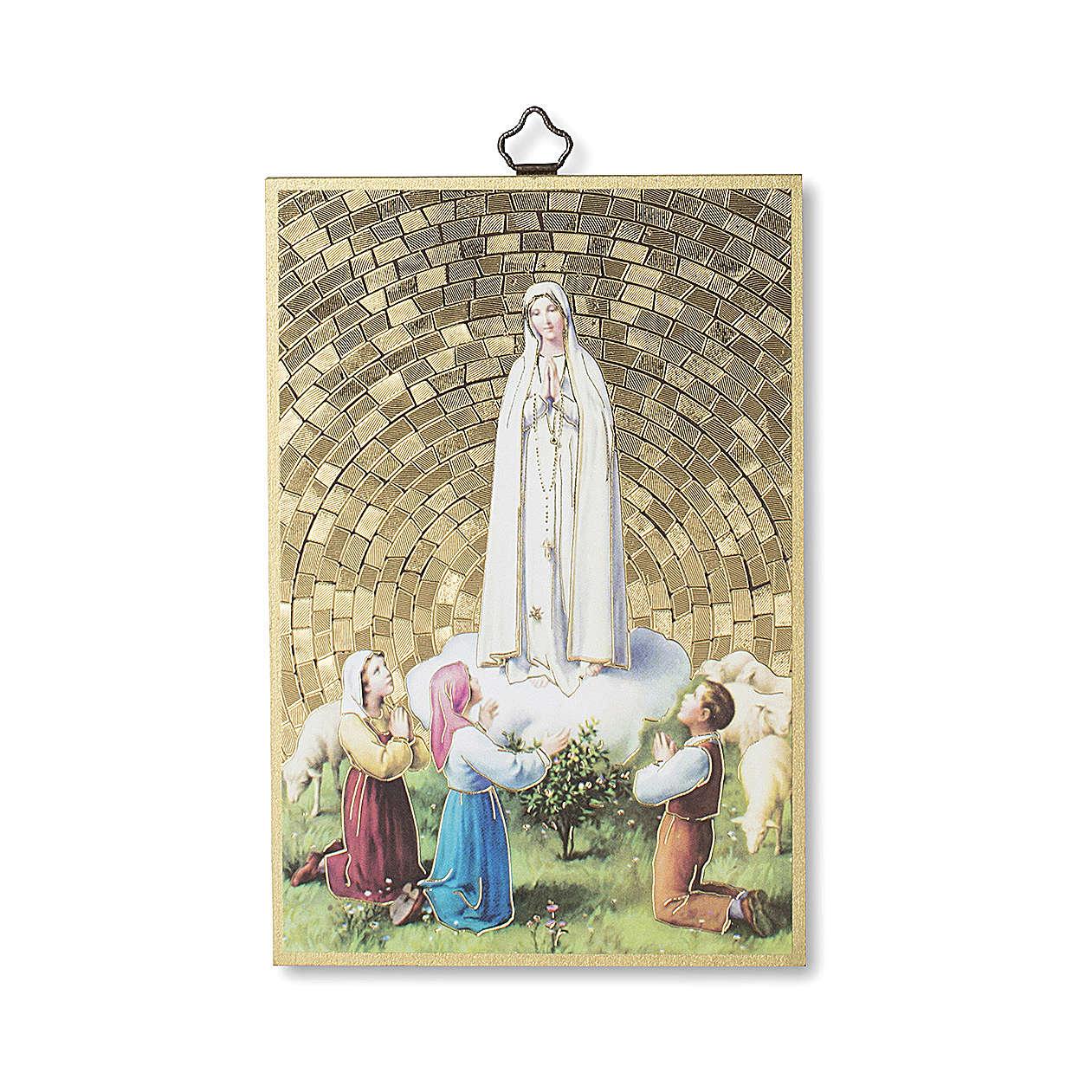 Stampa su legno Apparizione di Fatima con Pastorelli 3