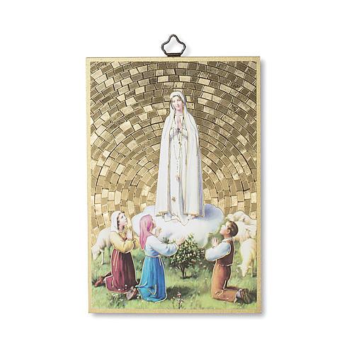 Stampa su legno Apparizione di Fatima con Pastorelli 1