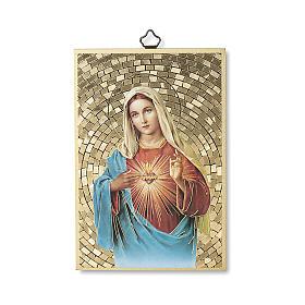 Cuadros, estampas y manuscritos iluminados: Impreso sobre madera Corazón Inmaculado de María