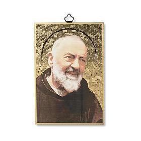Cuadros, estampas y manuscritos iluminados: Impreso sobre madera Padre Pío